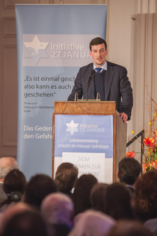 Moderation der Holocaust-Gedenkveranstaltung in der Residenz in München am 29. Januar 2017; Foto: Julian Wagner